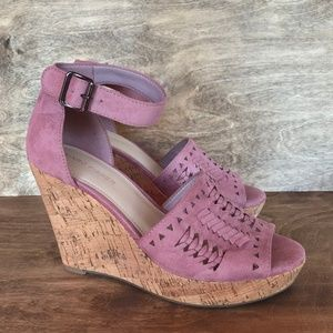 MARC FISHER Pink NWOT Cork Espadrille Wedges Sz 8